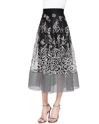 Embroidered Floral Midi Ball Skirt, Jet