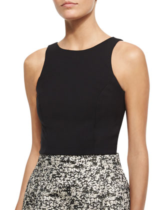 Back-Cutout Crop Top, Jet