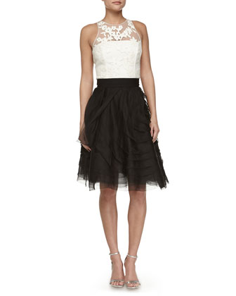 Sleeveless Embroidered-Bodice Party Dress