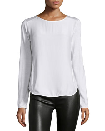 Glovette-Sleeve Silk-Cotton Tee, White, Women's
