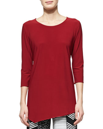 3/4-Sleeve Asymmetric Top, Red