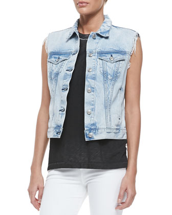 Button-Down Denim Vest, Bleachout