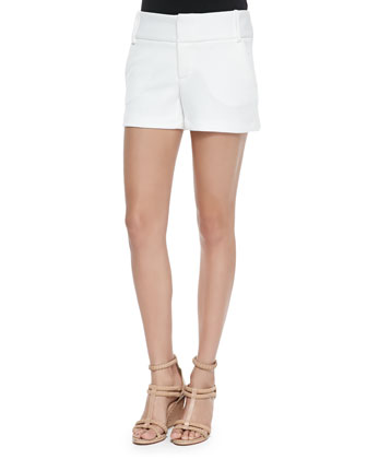 Boxy Cap-Sleeve Textured Top & Textured Cady Structured Shorts