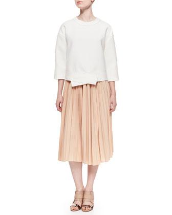 Boxy Asymmetric Knit Sweatshirt & Pleated Chiffon Midi Skirt