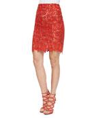 Helen Floral-Lace Pencil Skirt