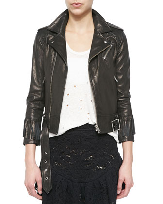 Zerignola Lamb Leather Jacket, Gise Sleeveless Fringed Top & Occeli ...