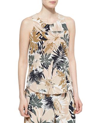 Patricia Silk Floral-Print Top & Victoria Tie-Waist Floral-Print Pants