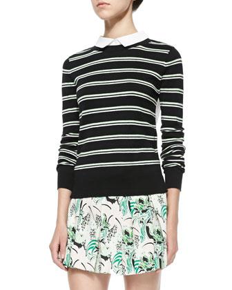 Tiger-Stripe Knit Jacket, Striped Knit/Poplin Combo Top & Garden-Print ...