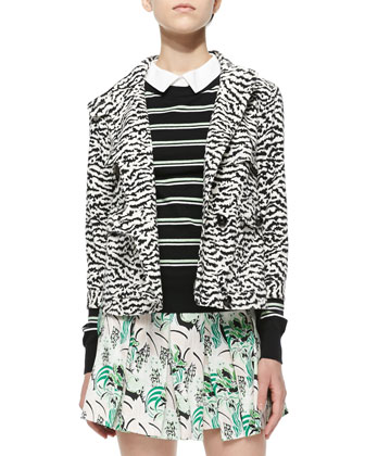 Tiger-Stripe Knit Jacket, Striped Knit/Poplin Combo Top & Garden-Print ...