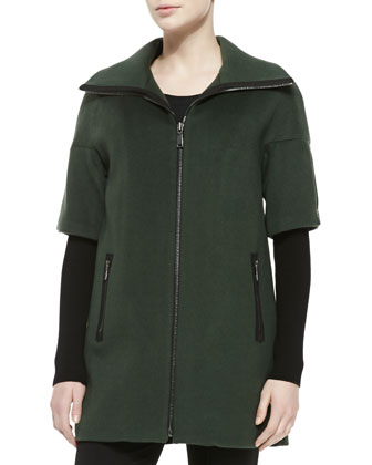 Cynthia Zip-Front Layer-Sleeve Coat