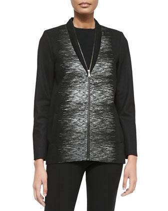 Enya Zip-Front Coat W/ Linear Print