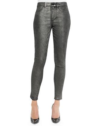Azella Skinny Ankle Jacquard Jeans, Gunmetal