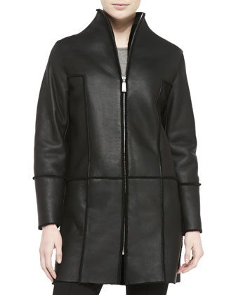 Dalia Seamed Leather Coat W/ Shearling Fur Lining