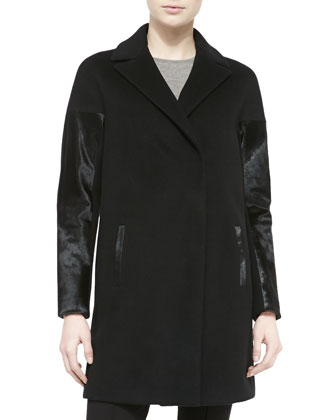 Louisa Coat W/ Calf Hair Sleeves