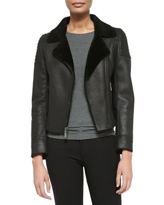 Mae Leather Zip Jacket W/ Shearling Fur Lapels