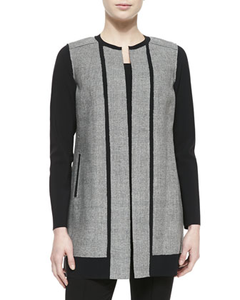 Melody Long Jewel-Neck Contrast Coat