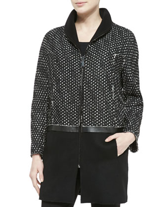Dalia Long Combo Zip-Front Coat