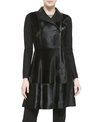 Aliza Structured Calf Hair Coat