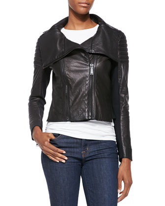 Melanie Leather Jacket W/ Quilted Shoulders