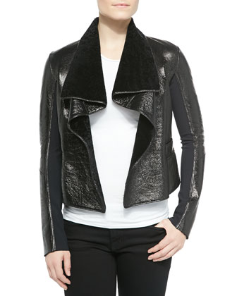 Jacqueline Open-Front Shearling Jacket, Black