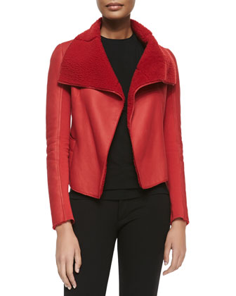 Jacqueline Open-Front Shearling Jacket, Crimson