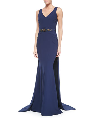 Sleeveless Embellished-Waist Gown W/ Train
