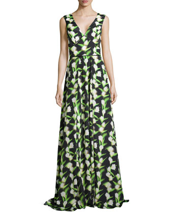 Sleeveless V-Neck Floral Gown