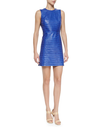Kasia Croc-Embossed Leather Dress