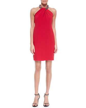 Beaded-Neck Toga Cocktail Dress, Red