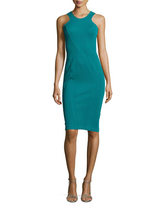Sleeveless Seamed Sheath Dress