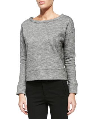 Oversized Boat-Neck Fleece Sweatshirt