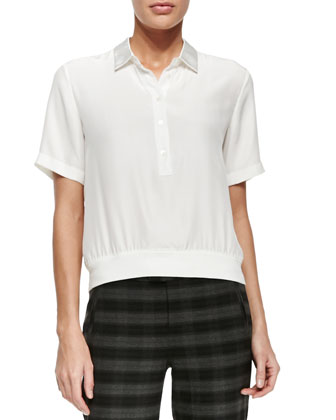 Short-Sleeve Silk Polo Popover Top & Slim Plaid Ankle Pants