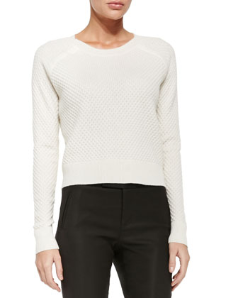 Cropped Crewneck Popcorn Sweater & Satin Knit-Back Pants