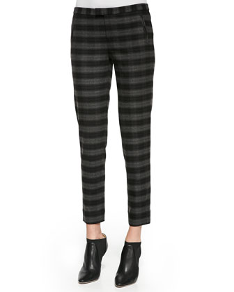 Slim Plaid Ankle Pants