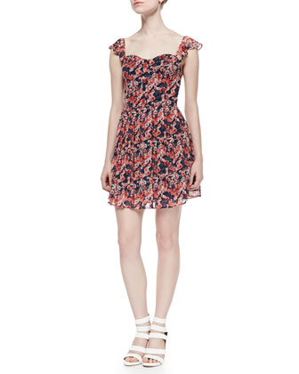 Edelfina Floral-Print Silk Dress