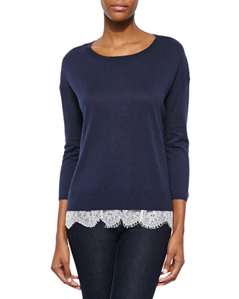 Hilano Lace-Hem Knit Sweater