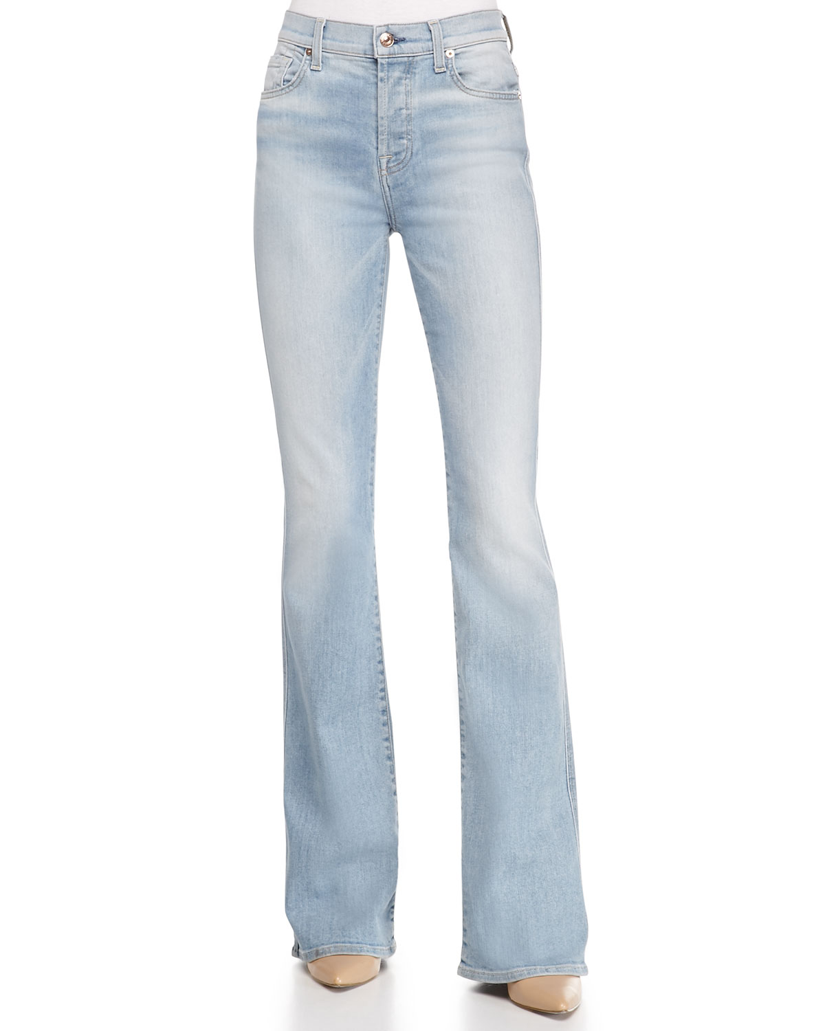 High-Waist Vintage Bootcut Jeans, Size: 28, Light Sky - 7 For All Mankind