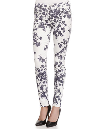 The Ankle Floral-Print Skinny-Fit Jeans