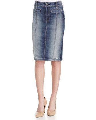 Seamed Denim Pencil Skirt, Blue