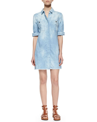 Boyfriend Chambray Dress w/Raw Hem