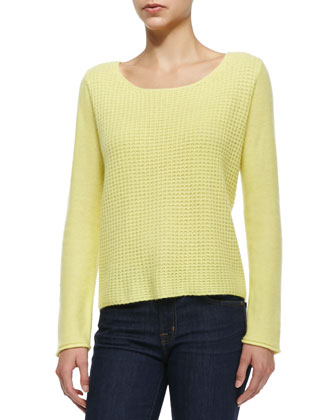 Long-Sleeve Waffle-Stitch Top