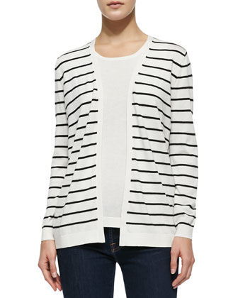 Striped Cardigan W/ Lace Back
