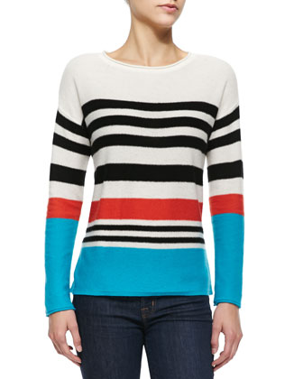 Striped Boxy Cashmere Top
