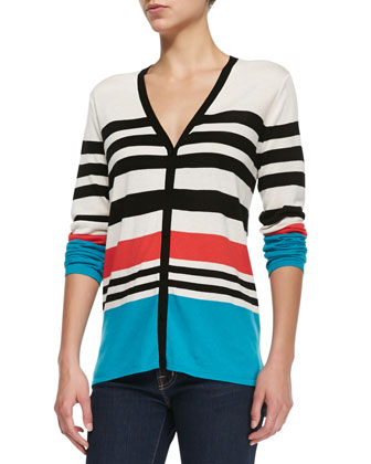Striped V-Neck Cardigan
