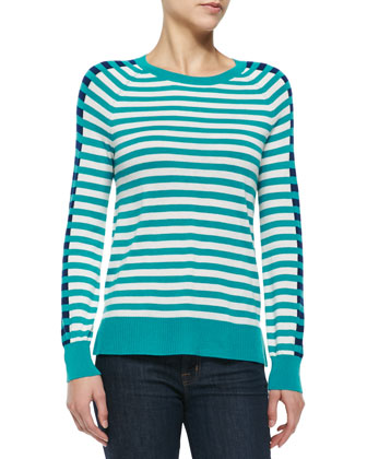 Crewneck Long-Sleeve Striped Top