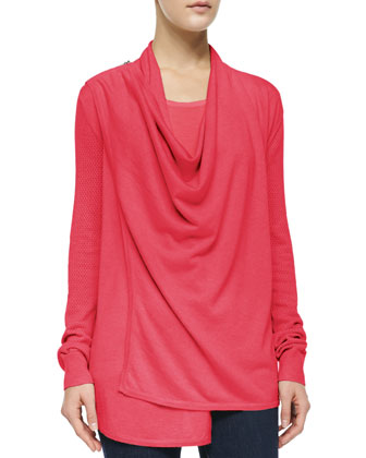 Zip-Shoulder Draped Silk-Blend Cardigan