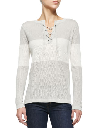 Striped Lace-Up Henley Top