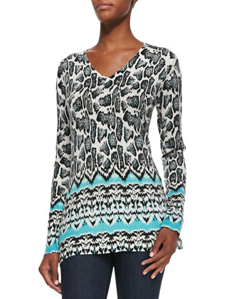 Ikat Snake-Print V-Neck Top