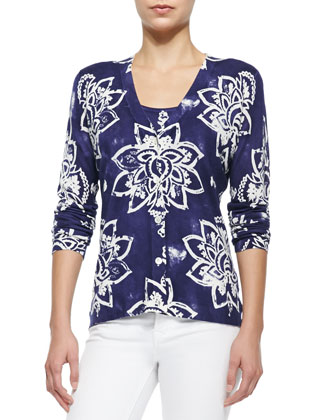 Stamped Lotus-Print V-Neck Cardigan