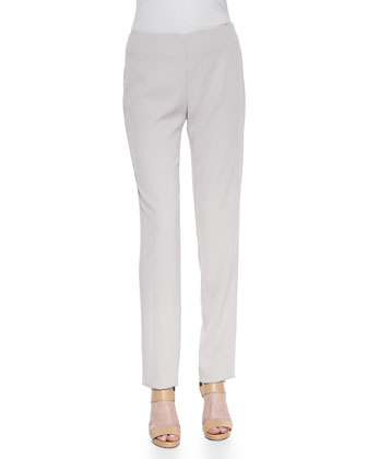 Skinny Side-Zip Pants, Beige
